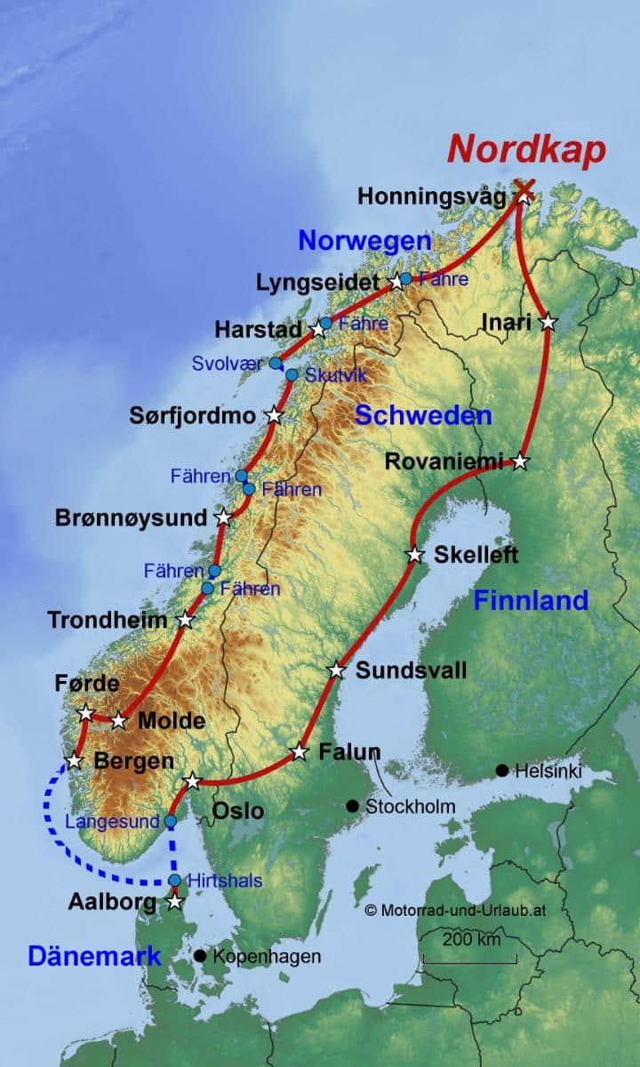 Karte Norwegen Mit Polarkreis.Nordkap Xxl Geführte Motorradtour über Den Polarkreis