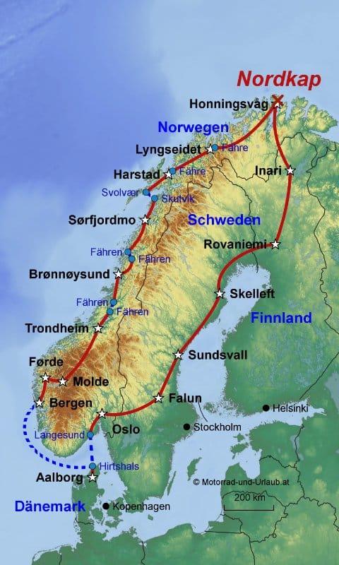 Nordkap Ungeführte Motorradreise durch 4 Länder