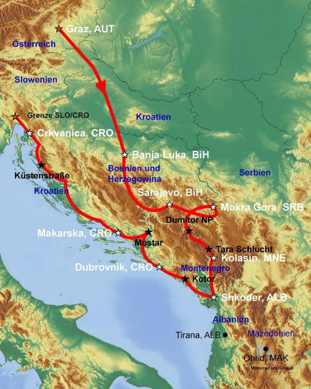 Karte Montenegro Kroatien.Balkan Express Mit Dem Eigenen Motorrad Bis Nach Albanien